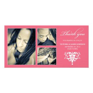 PINK FORMAL COLLAGE | WEDDING THANK YOU CARD CUSTOM PHOTO CARD