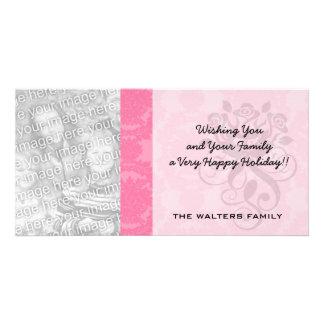 pink formal damask pattern card