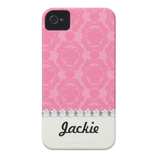 pink formal damask pattern iPhone 4 Case-Mate cases