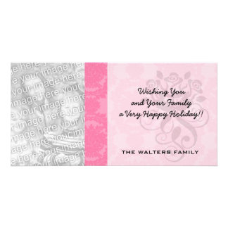 pink formal damask pattern personalised photo card