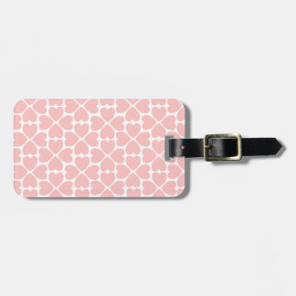 Pink Four Leaf Clover Hearts Luggage Tag