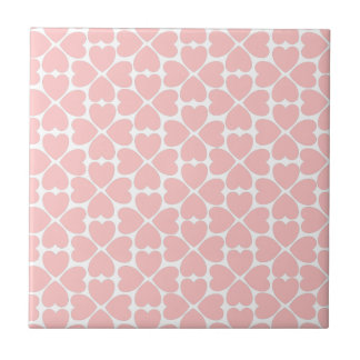 Pink Four Leaf Clover Hearts Tile