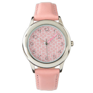 Pink Four Leaf Clover Hearts Watch