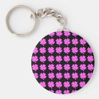 Pink four leaf clover Irish design Keychains