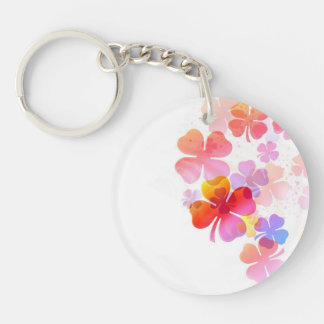 Pink Four Leaf Clovers Acrylic Key Chain