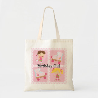 Pink Four Square Rollerskating Birthday Budget Tote Bag