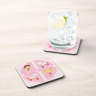Pink Four Square Rollerskating Birthday Coasters