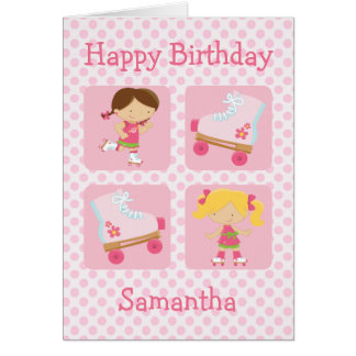Pink Four Square Rollerskating Birthday Greeting Card