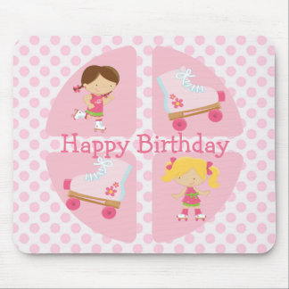 Pink Four Square Rollerskating Birthday Mouse Pad