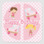 Pink Four Square Rollerskating Birthday Square Stickers