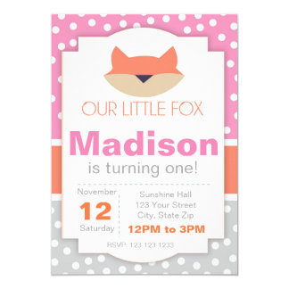 Pink Fox Birthday Invitation