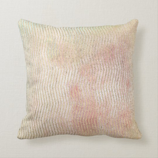 Pink Foxier Metal Chevron Stripes Watercolor Mint Cushion