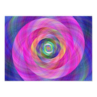 Pink fractal 17 cm x 22 cm invitation card