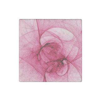 Pink Fractal Art Stone Magnet