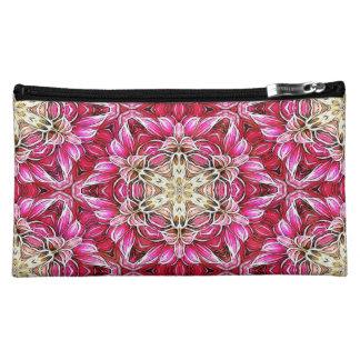 Pink Fractal Floral Pattern Mini Bag/Clutch Makeup Bags
