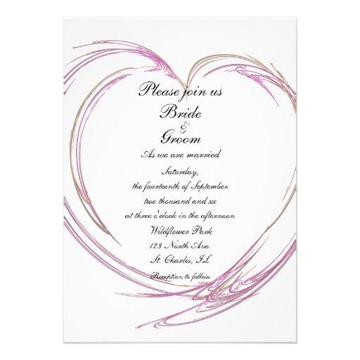 Pink Fractal Heart Wedding Invitation
