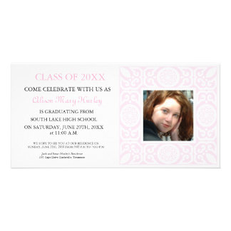 Pink Frame - Photo Graduation Party invites Custom Photo Card