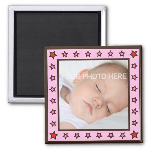 Pink frame with stars photo magnet