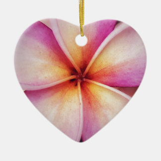Pink Frangipane Flower Dble-sided Heart Ornanent Christmas Ornament