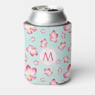 Pink Frangipani Monogram Aqua Can Cooler