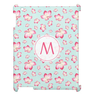 Pink Frangipani Monogram Aqua iPad Covers