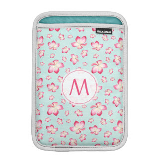 Pink Frangipani Monogram Aqua iPad Mini Sleeve