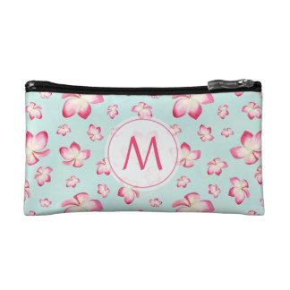 Pink Frangipani Monogram Aqua Makeup Bag