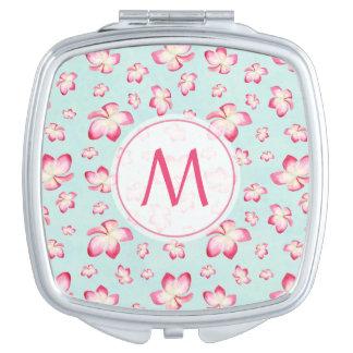 Pink Frangipani Monogram Aqua Mirrors For Makeup