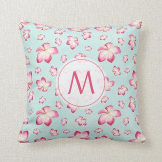 Pink Frangipani Monogram Cushion