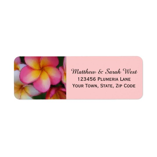 Pink Frangipani Plumeria Tropical Flowers Return Address Label