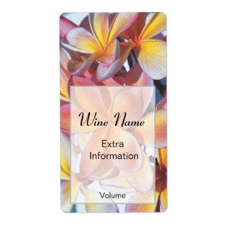 Pink Frangipani Wine Label Shipping Label