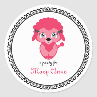 pink french POODLE BIRTHDAY keepaske label