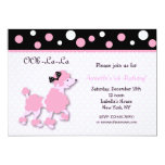 PINK FRENCH POODLE Ooh la la 5x7 Birthday Custom I Announcement