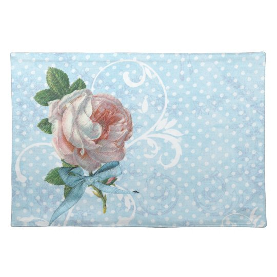 Pink French Roses and Polka Dots Placemat