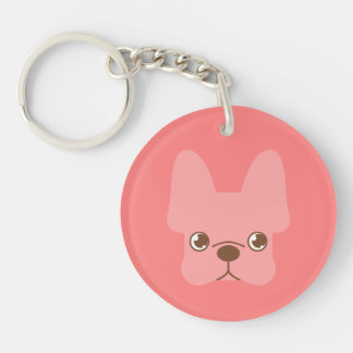 Pink Frenchie Key Ring