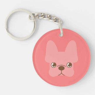 Pink Frenchie Single-Sided Round Acrylic Key Ring