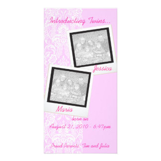 Pink Frilly Lace Twin Photo Announcement Cards