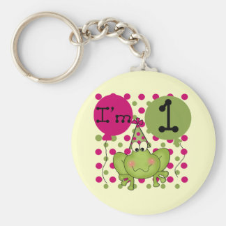 Pink Frog 1st Birthday Tshirts and Gifts Basic Round Button Key Ring