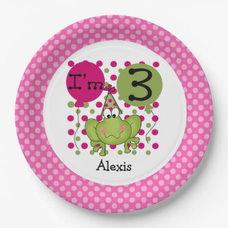 Pink Frog 3rd Birthday Paper Plates 9 Inch Paper Plate