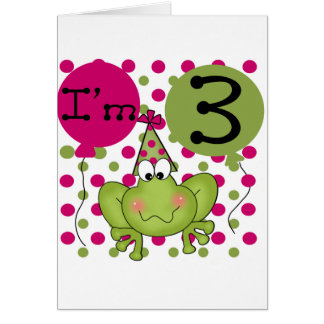 Pink Frog 3rd Birthday Tshirts and Gifts Greeting Card