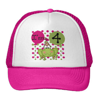 Pink Frog 4th Birthday Tshirts and Gifts Cap