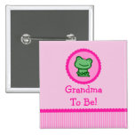 """Pink Frog """"Grandma To Be"""" Baby Shower Button"""