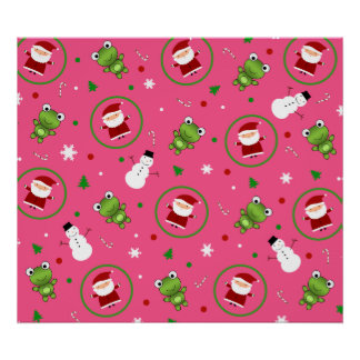 Pink frogs santa claus snowmen posters