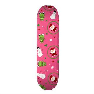Pink frogs santa claus snowmen skate deck