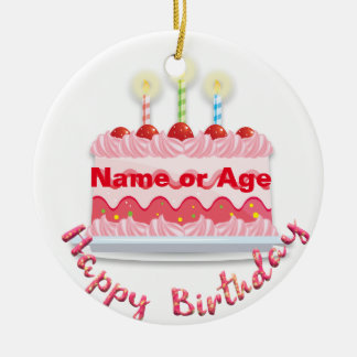 Pink Frosted Birthday Cake with Candles Christmas Ornament