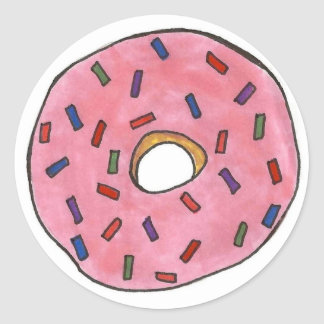 Pink Frosted Donut with Sprinkles Round Sticker