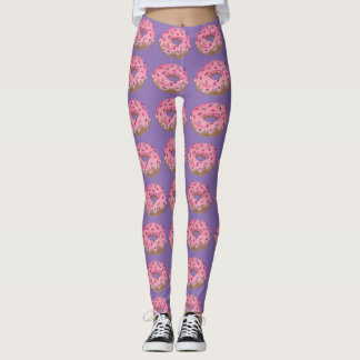 Pink Frosted Sprinkles Donut Doughnut Donuts Print Leggings