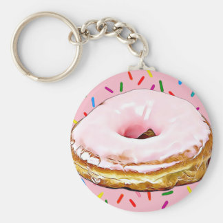 Pink Frosted Strawberry  Doughnut Key Chain