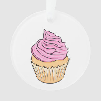 Pink Frosting Cupcake Yummy Birthday Party Cupcake Ornament