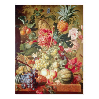 Pink Fruit and Flowers, Flemish flowers Postcard